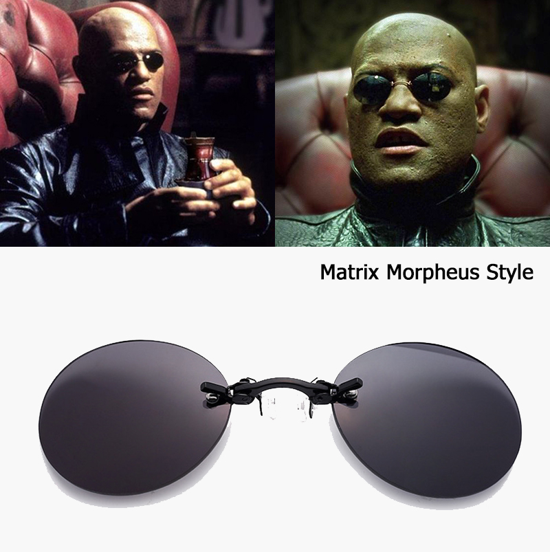 JackJad Mode Die Matrix Morpheus Stil Runde Rimsless Sonnenbrille Männer Marke Design Clamp Nase Sonnenbrille Oculos De Sol AB704
