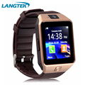 Langtek popular smart watch dz09 com câmera do bluetooth relógio de pulso smartwatch para android telefone do cartão sim suporte multi linguagem