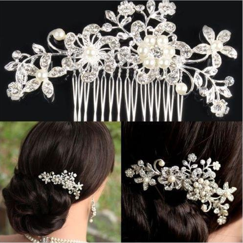 Flowers Women Bridal Hair Accessories Luxury Rhinestone Bride Wedding Headwear Royal Princess Marriage Hairband With Comb