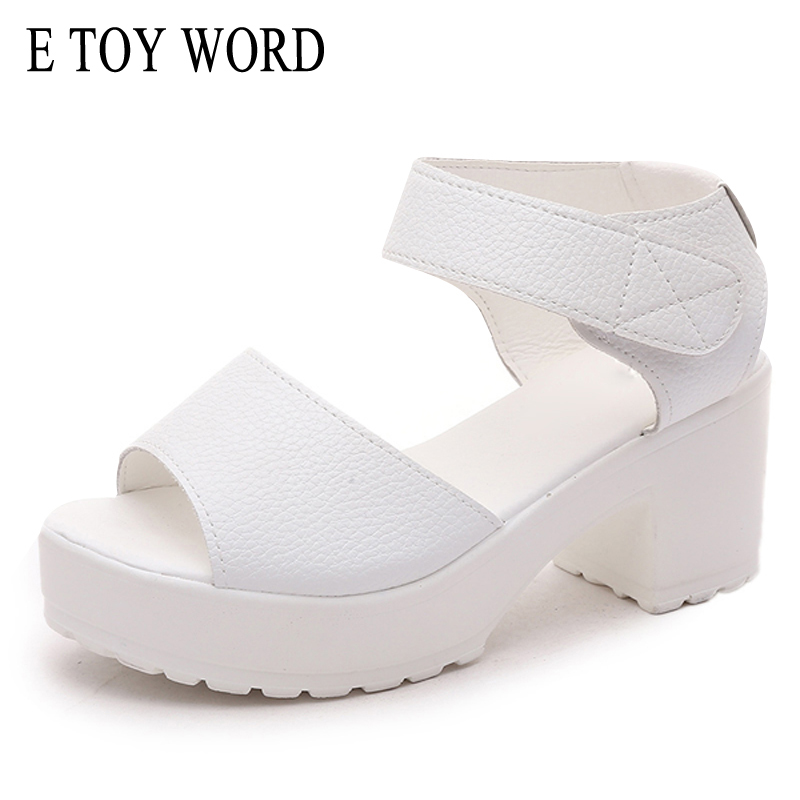 E TOY WORD Fashion Women Sandals Summer Shoes Wedges Open toe Thick Heel Mujer Soft PU Women High-heeled Platform Sandals e toy word summer platform wedges women sandals antiskid high heels shoes string beads open toe female slippers