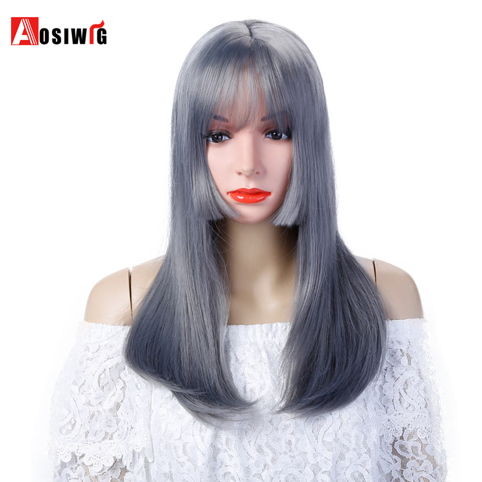 AOSIWIG Long Straight Hair Cosplay Wig 22 5 Colors Synthetic Wigs Heat Resistant Hair ...