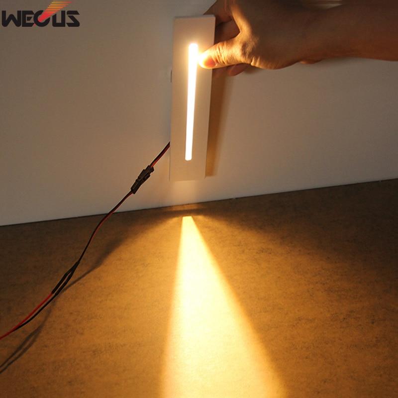 (WECUS) Strip-shaped Downlight Footlight, Embedded Rectangular Led Corridor Stair Light, Kicking Light