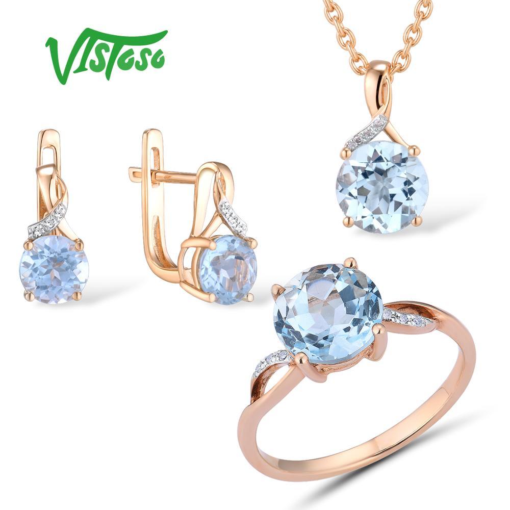 VISTOSO Jewelry Set For Woman Pure 14K 585 Rose Gold Sparkling Sky Blue Topaz Diamond Earrings Ring Pendant Set Fine Jewelry