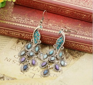 New Brand Bohemian Pierced peacock Drop Earring for Women Jewelry Brincos Grandes Pendientes Accessories 2016