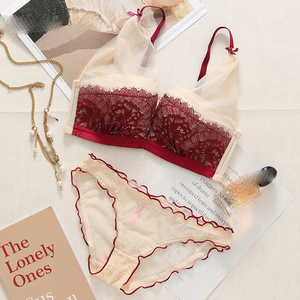 Image 2 - Sexy Lace Women Underwear Set Push Up Bra Sets lash love seamless Brassiere wire free Deep V Small Chest Lingerie and Pant Sets