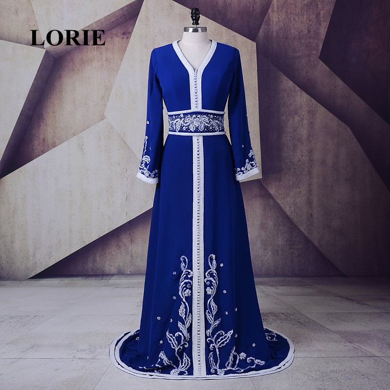 LORIE Royal Blue   Evening     Dress   Moroccan Kaftan V-Neck A-Line Chiffon Embroidery Beaded with Pearls Muslim Prom   Dress   Dubai Gown