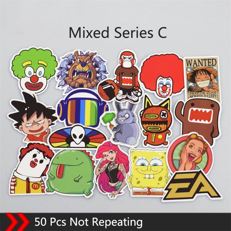 50Pcs Mixed Anime Stickers Cartoon Graffiti Stiker Children Reward Motorcycle Skateboard Car Sticker
