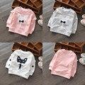 2016 Children's Clothing Spring and Autumn Female Child Cartoon Casual Sweet Cartoon Fox Tie T-shirt Baby Girls Sweatshirt