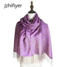 hot deal buy scarf woven shawl pashmina fashion mujer capes jacquard hijabs winter kashmir paisley hijab femme muffler stole mujer wraps