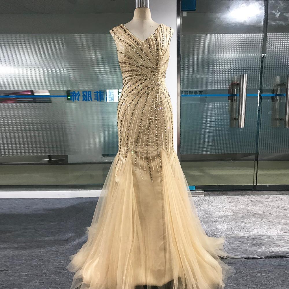 Vestido Largo De Noche Pink Crystals Mermaid Prom Dresses 2018 Formal  Dresses Prom Graduation Dresses V neck Actual Images-in Evening Dresses  from Weddings ... 6e465b19992b