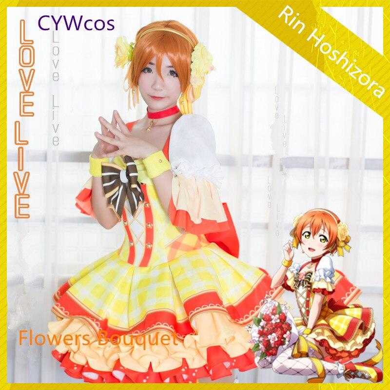 Индивидуальные любовь Live Косплэй Рин Hoshizora Цветы Букет пробудить Косплэй костюм Рождество женское платье форма костюмы
