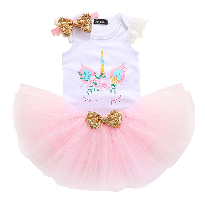 2018 Baby Kids Girls Unicorn Set Lace Sleeves Cotton Romper Tutu Skirt Headband Outfit Mini Cute 1 Year Girl Baby Birthday Sets navy cute high waisted leather mini skirt