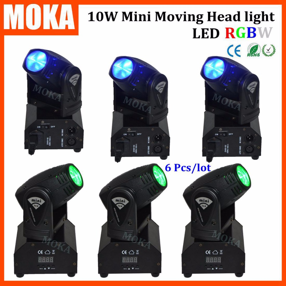 6Pcs/lot 10W Mini LED Moving Head Light 4 in 1 color moving led head Party lights for Disco KTV Night Bar
