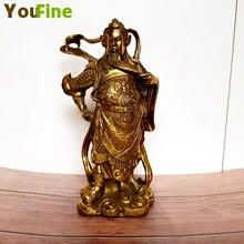 Chinese Feng Shui Brass Bronze Guan Gong Jiu Guan Guan Station like Guan Yu Warrior Chinese Character Statue Sculpture цена и фото