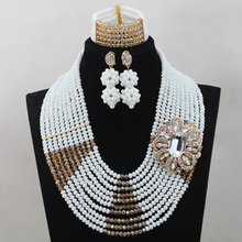 Luxury Cream White African Beads Jewelry Set for Women 10 Layers Gold Champagne Crystal Wedding Bridal Party Jewelry Set QW112