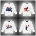 2016 Розничные Продажи Хлопка с длинным рукавом детей футболки, милый мультфильм футболки, супер марио брат мальчики девочки футболка рисунок детской одежды
