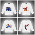 2016 Retails Cotton long sleeve children t shirts, cute cartoon t-shirt,super mario brother boys girls t-shirt figure kids wear