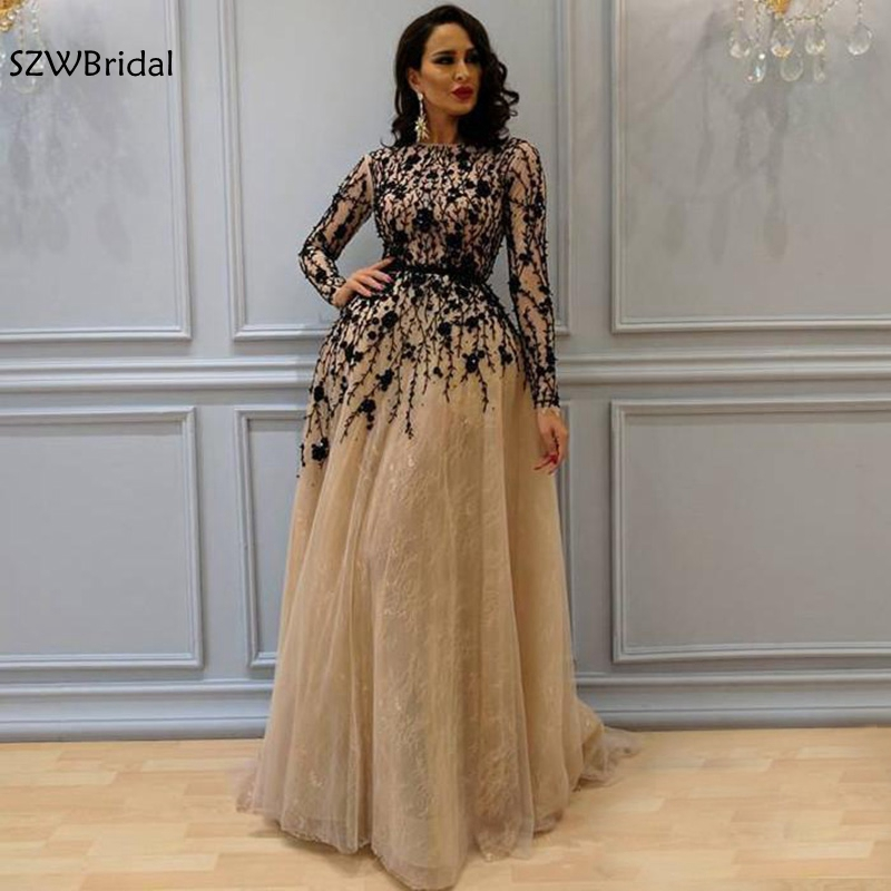 Elegant Long Sleeves Muslim   Evening     Dresses   2019 Black Major Beaded Tulle robe longue Formal   dress   Party Robe de soiree