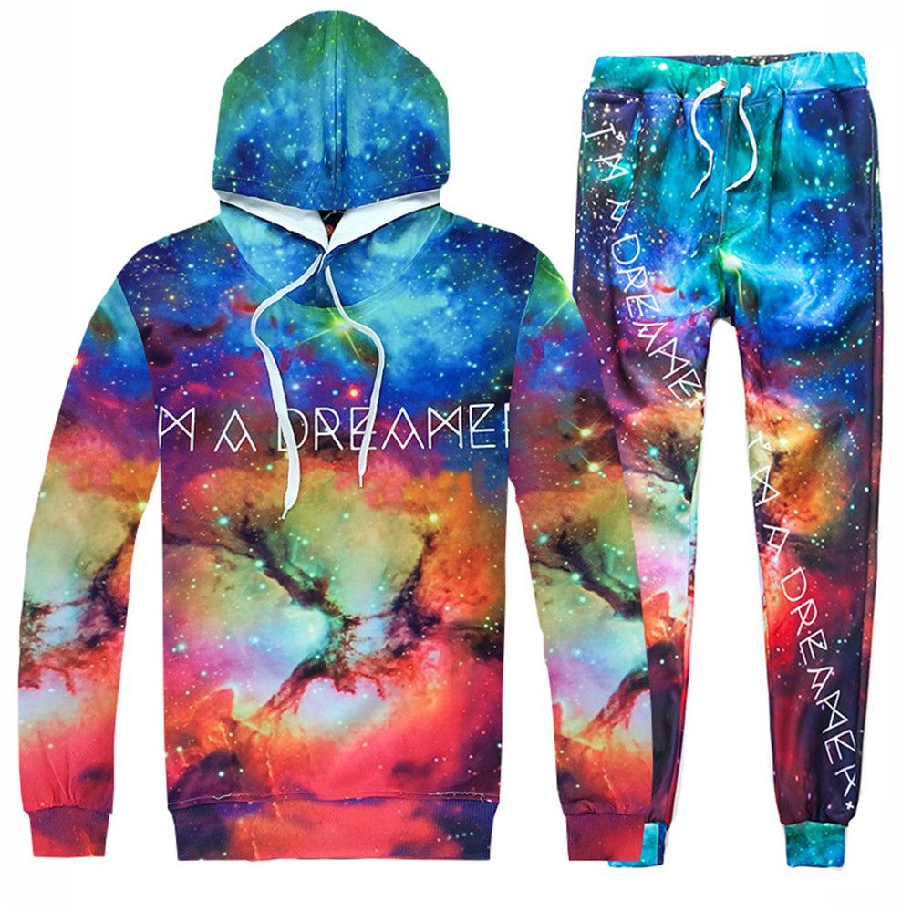 Fashion personality starry sky universe 3D printing baseball uniform hooded sweater pants casual suit cosplay costumes Halloween
