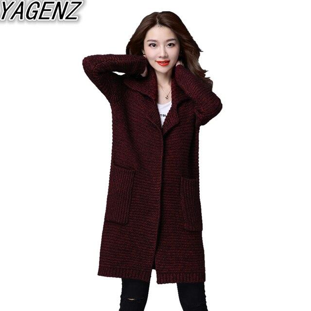 Le donne Plus size Maglione Cardigan Selvaggio 2017 Coreano Allentato Maglione  Donna Autunno Inverno Cappotto di 374fd1006e3