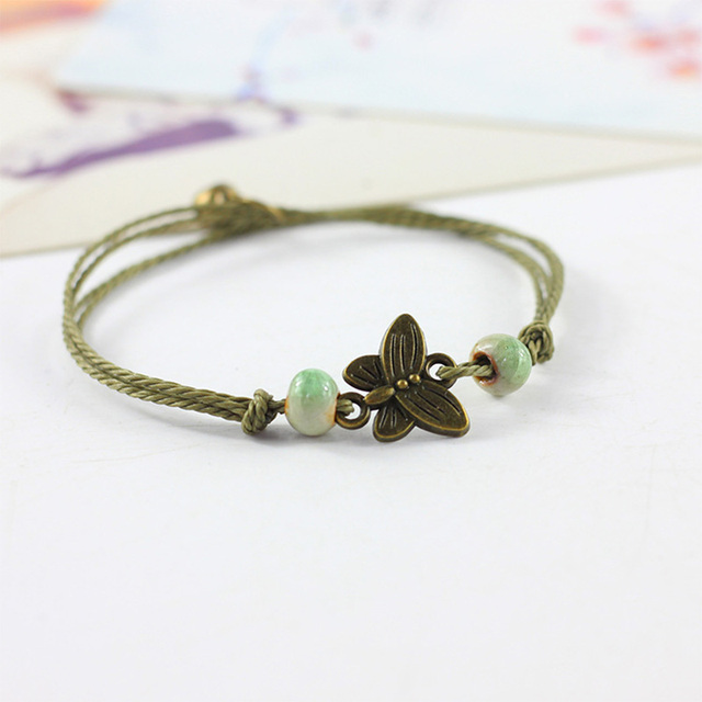 12 Pieces Lot Erfly Pendant Charm Bracelets Ceramic Beads Sunflower Snowflake Pendants Adjule Wristbands Chain