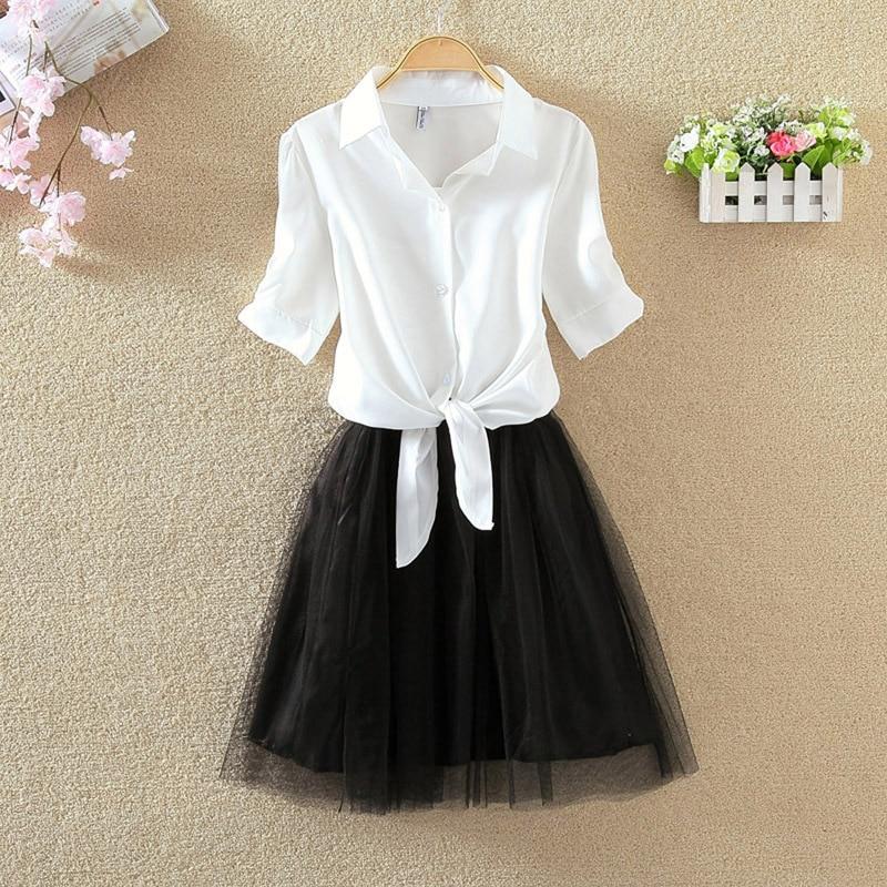 Shirt And Sling Tutu Dress Suit Women 2018 Summer Cute 2 Piece Dress Blue Pink Shirt And White Veil Dresses Plus Size 3XL 4XL 1