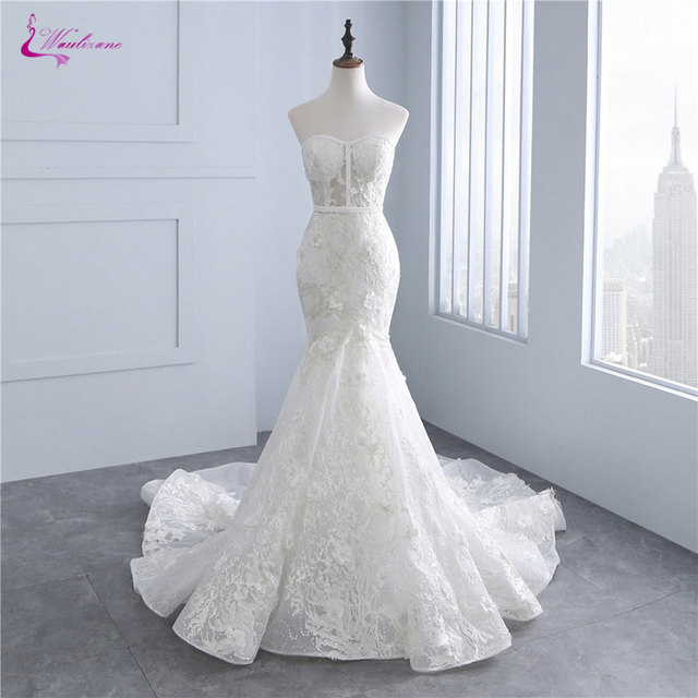 Waulizane Floral Print Sweetheart Mermaid Wedding Dresses Unique Embroidery  Appliques Lace Off The Shoulder Bridal Gowns f54515dcfe20