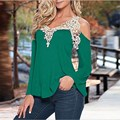Plus Size M-5xl New Woman T-shirt Loose V-neck Sexy Long Sleeve T-shirts Fashion Strapless Lace Stitching Female Casual T-shirt