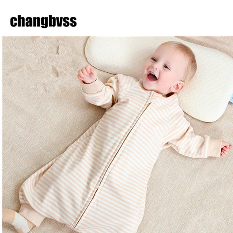 Spring Summer Baby Sleeping Bag 100% Natural Cotton Baby Kids Sleep Sacks Long-sleeve Children Sleep Rompers Saco De Dormir