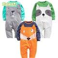 Macacão de bebê da Menina do Menino Definir Crianças Vestuário Terno Do Bebê Ternos Do Corpo do Animal do Kawaii Padrão Newborn Jumpsuit Para 3-24 Meses