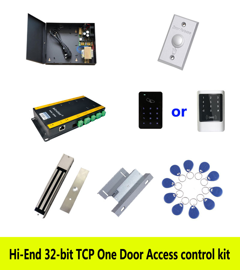 Hi-end access control kit,TCP one door +power+280kg magnetic lock+ZL-bracket+ID touch keypad reader+button+10 ID tag,sn:kit-AT08 free ship by dhl access control kit one em keypad access control power magnetic lock u bracket button 10 em card sn em 008