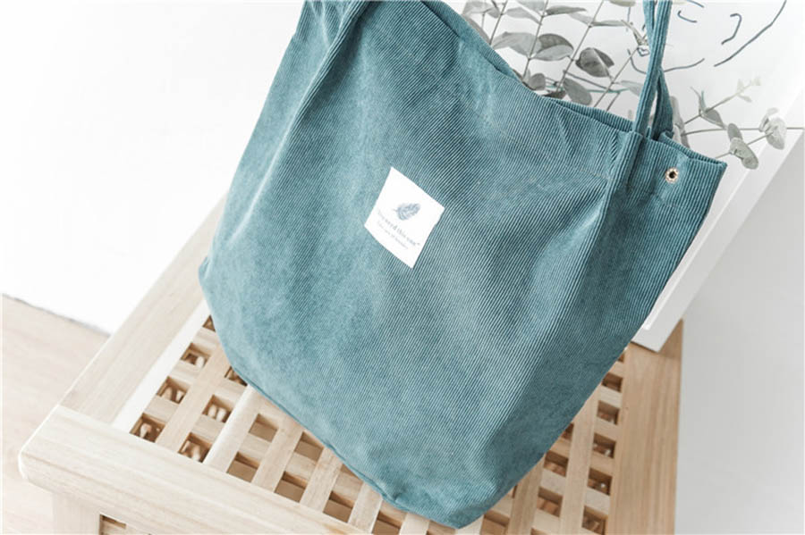 Mara's Dream High Capacity Women Corduroy Tote Ladies Casual Solid Color Shoulder Bag Foldable Reusable Women Shopping Beach Bag 40