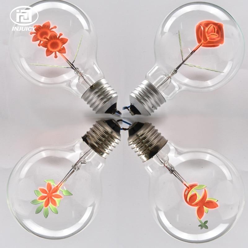 vindima edison lampada g80 e27 parafuso de poupanca de energia fonte de luz flores criativas lampada