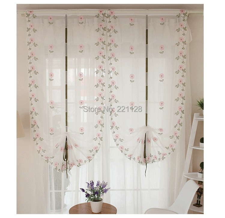 Curtain For Balcony: Home Deco Embroidery Roman Curtain Voile Sheer Curtains