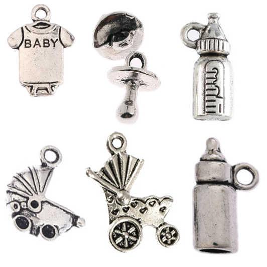 Тибетские Серебряные Бусины Очаровательные Подвески для детского душа подходят браслеты Сделай Сам изготовление 10 шт