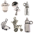 Tibetan silver beads charms Baby shower pendants fit bracelets DIY jewelry making 10pcs
