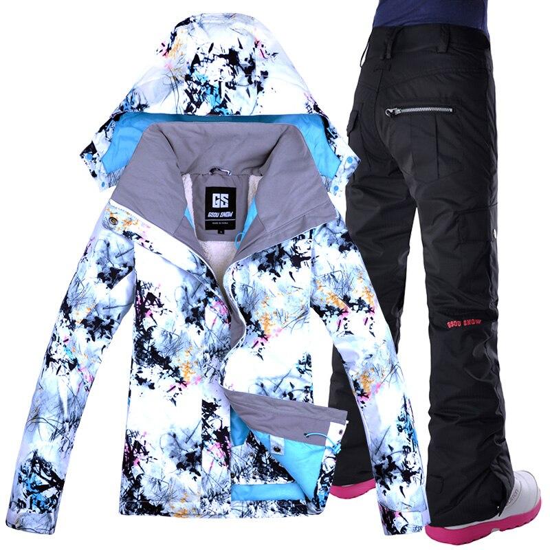 GSOU NEVE 2018 NewHigh Qualità Femminile delle Donne Tuta Da Sci Impermeabile Antivento Giacca Da Sci e Pantaloni Snowbaord Set Inverno Caldo clothi
