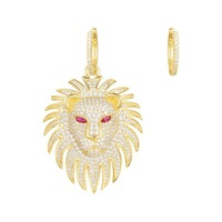 Luxury Gold Color Lion Silver Asymmetry Earrings for Women Party Full AAA Cubic Zirconia Animal Jewelry Ancient Egypt Monaco