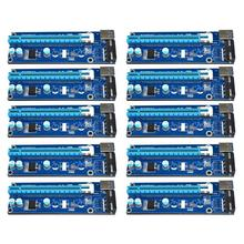 10pcs/lot 60cm 1x 16x USB 3.0 PCI-E Express Extender Riser Card with SATA 15pin to 4pin Power Cable for Bitcoin Miner Mining