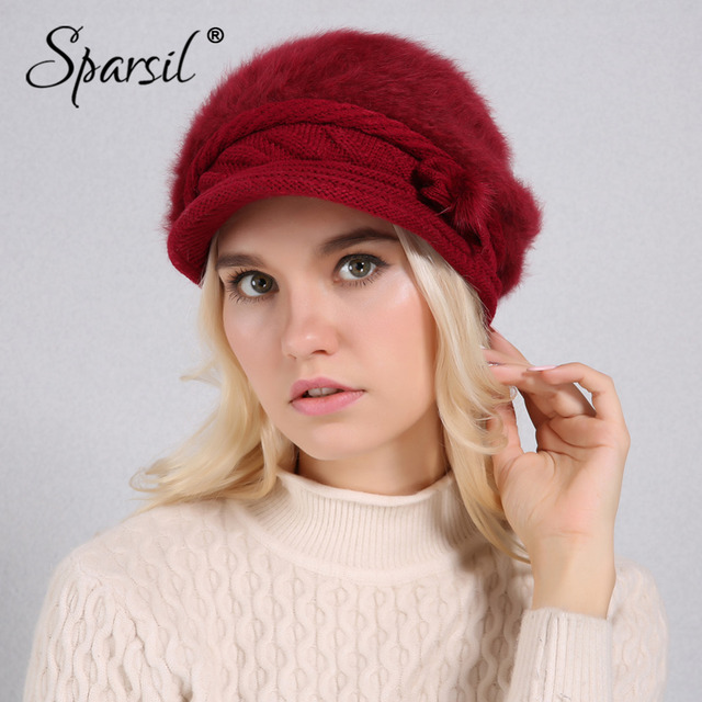 Sparsil Women Winter Rabbit Fur Hat Knitted Wool Berets Fleece Warm Casual  Cap Bow-Knot 292e0afcfcc0