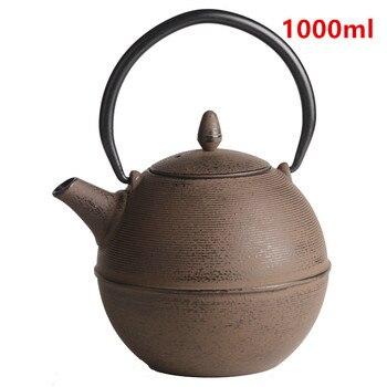 Cast Iron Tea Pot Set Japanese Teapot Tetsubin Kettle Drinkware KungFu Tools Stainless Steel Strainer Muzzle Tea Kettle 1000ml