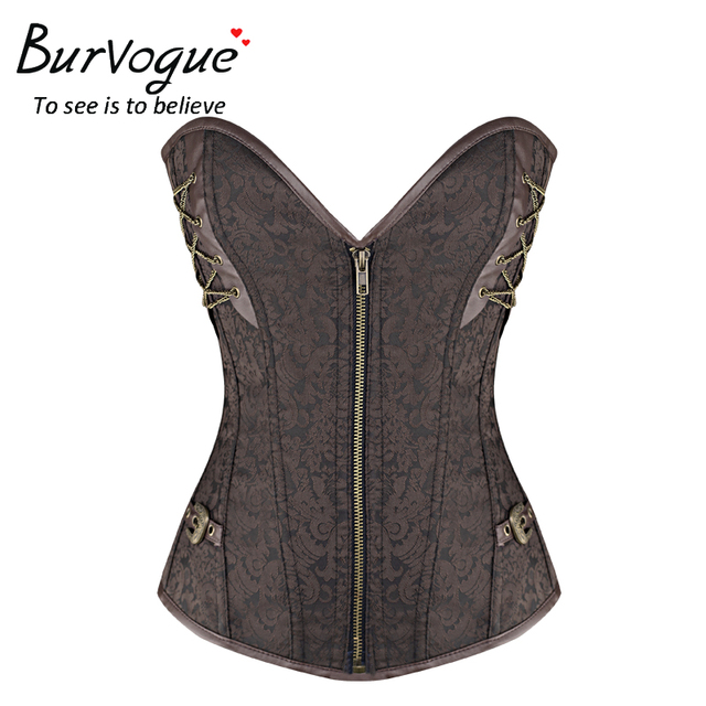 Burvogue Steel Bones Corset with Zipper Gothic Corset Overbust Corsets Top Waist Control Corsets Steampunk Corsetlets for Women