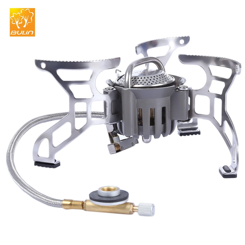 BULIN 3000W Stove Outdoor Camping Foldable Aluminum Alloy Split Gas Stove Cookware Picnic Burner for Hiking Fishing BBQ Hunting split gas stove burner made of titanium alloy for outdoor camping 98g power 2800w