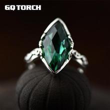 Gqtorch simple elegante Esmeralda tallada anillos de cristal para las mujeres 925 Plata de ley natural piedras preciosas fina aneis feminino