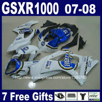 Customize free motorcycle ABS fairing kit for SUZUKI GSXR1000 2007 2008 K7 blue white LUCKY STRIKE fairings set GSXR 1000 07 08