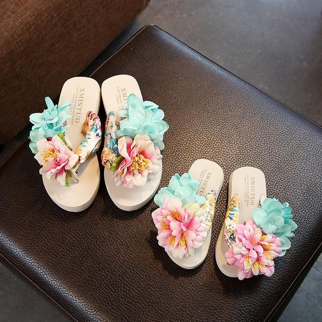 e1bf86eff1 Parental Slippers Girl Floral Bohemia Flat Sandals Summer 2018 Flip Flops  Beach Sandals Girls Flat Slippers Children s Shoes