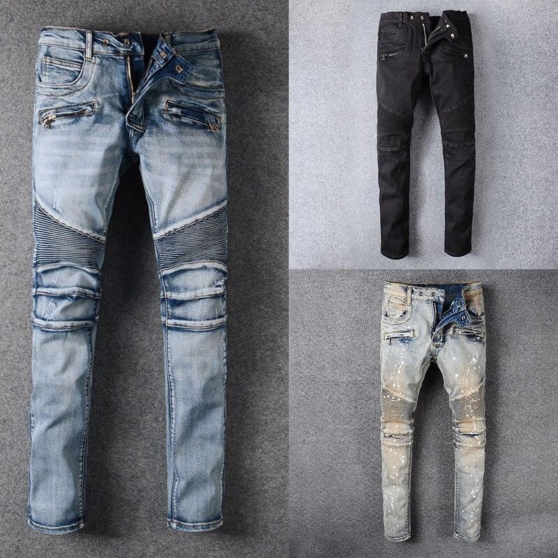 Italian Style Street Fashion Men Jeans Destroyed Ripped Jeans Men Motor Biker Jeans Homme New Men Pants