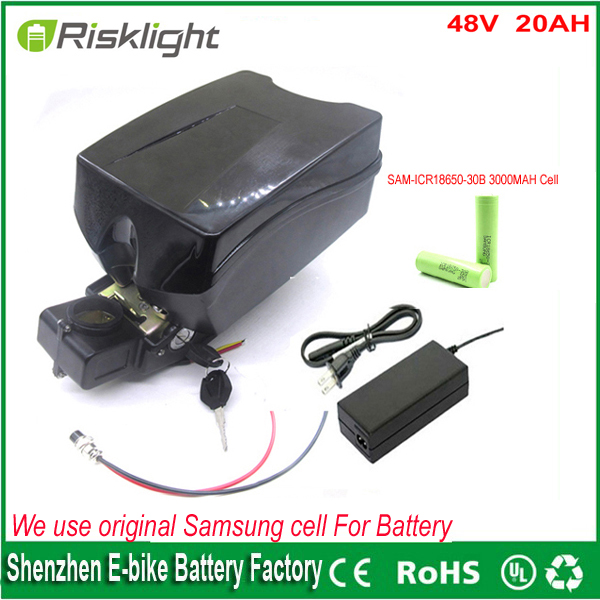 ebike 48v <font><b>battery</b></font> electric <font><b>bike</b></font> <font><b>battery</b></font> 48V 20Ah for bafang/8fun 1000w motor with Frog <font><b>Case</b></font> BMS Chargrer For Samsung cell
