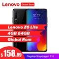 Lenovo Z6 Lite 6.3'' 4GB 64GB Smartphone Octa Core Triple Back Cams 19.5:9 Waterdrop 4050mAh 4G LTE OTA Mobile Phone