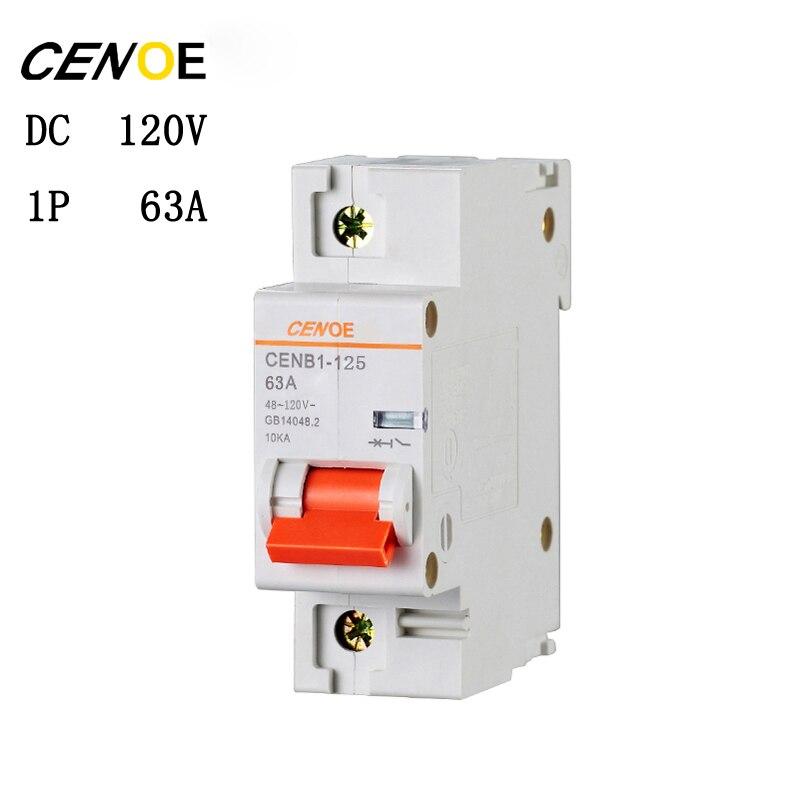 1 P 63A 80A 100A 125A DC 120 V électrique véhicule DC disjoncteur mini DC disjoncteur avec court-circuit et surcharge protection